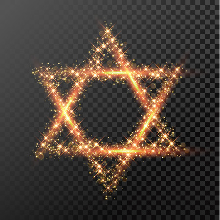 glowing star: David Star of gold glittering lights. Happy Hanukkah Jewish festival holiday design element for greeting card. Glitter light sparkles. Glowing golden fire light Illustration