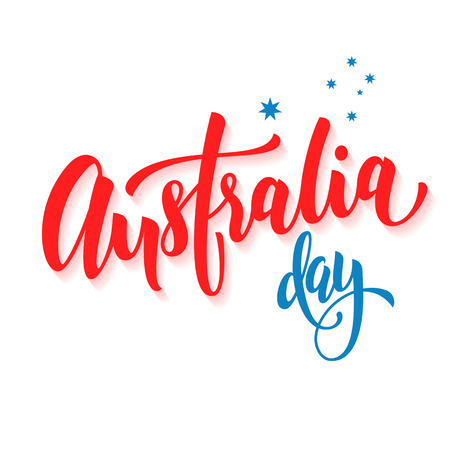 canberra: Happy Australia Day poster. Australian flag vector illustration greeting card with hand drawn calligraphy lettering. Australia text on white background with stars