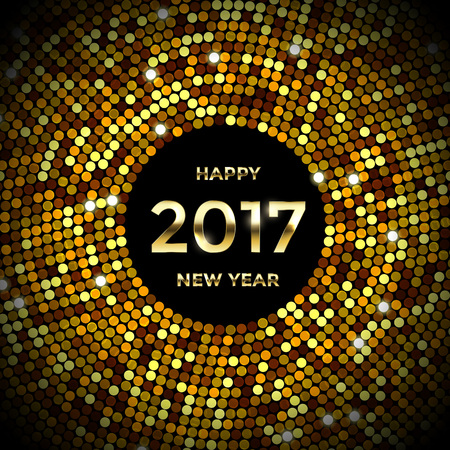 text year: Glittering confetti sparkles. Vector golden decorative sequins glitter background with 2017 Happy New Year text. Golden crystal disco ball pattern for winter holiday luxury poster or premium banner