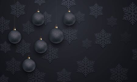 christmas backdrop: Decoration pattern of black snowflake, golden Christmas balls on luxury background for Christmas, New Year holiday greeting. Premium decorative velvet snow ornament. Vector backdrop vip wallpaper