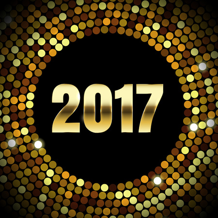 new year greeting: Gold glitter confetti pattern for 2017 New Year greeting card. Golden sparkles of crystal disco ball for winter holiday luxury poster or premium banner. Vector decorative glittering sequins background