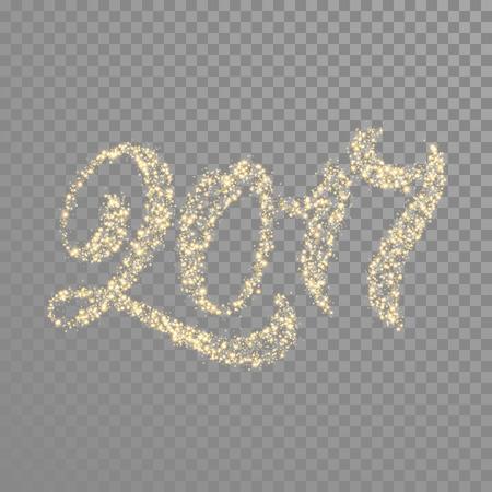 Gold glitter calligraphy text lettering for New Year greeting card. 2017 glittering golden particles font type letters of sparkler or firework light sparkles decoration ornament transparent background Ilustração Vetorial