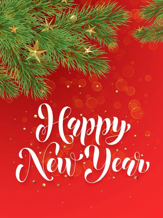 text year: Decorative red background with golden Christmas ornament decorations of gold stars balls and Christmas tree branches. Happy New Year text calligraphy lettering Illustration