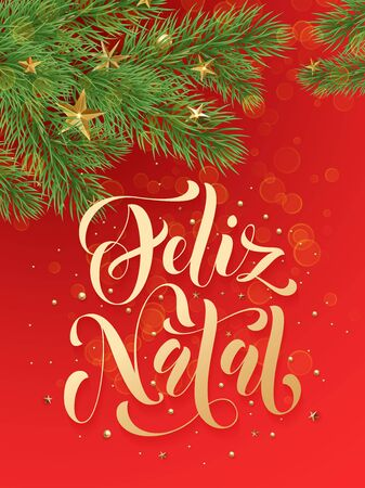 gold christmas decorations: Feliz Natal portuguese Merry Christmas text greeting calligraphy lettering. Decorative red background with golden Christmas ornament decorations of gold stars balls and Christmas tree branches