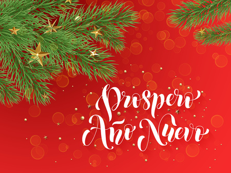 gold christmas decorations: Prospero Ano Nuovo Spanish Merry Christmas text greeting calligraphy lettering. Decorative red background with golden Christmas ornament decorations of gold stars balls and Christmas tree branches