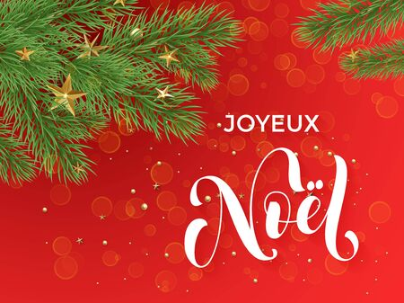 joyeux: French Merry Christmas Joyeux Noel text calligraphy letteringdecorative red background with golden Christmas ornament decorations of gold stars balls and Christmas tree branches