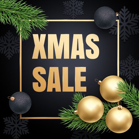 gold christmas decorations: Xmas Sale gold text placard, golden frame, ball ornament decorations and Christmas tree branches. Premium luxury background with snowflakes pattern, gold glitter border. Retail offer banner, poster