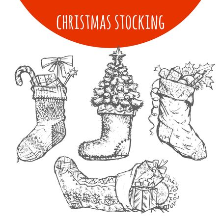 patched: Christmas stocking sock decoration with gifts sketch. Hand drawn pencil drawing elements of Christmas pine, fir tree branches cones, candy, holly wreath bow balls for vector Christmas, New Year design