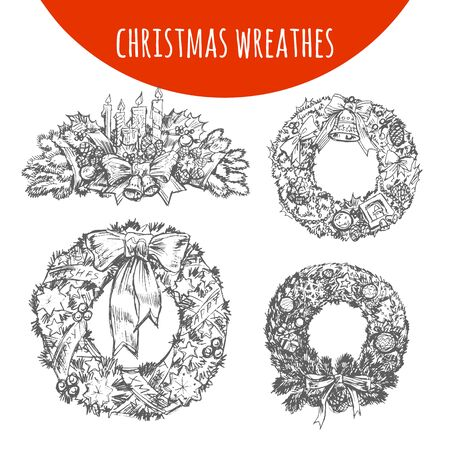 pine decoration: Wreath decoration sketch. Vector Christmas garland of pine fir tree branches cones, balls and bell bow, holly leaf, gifts illustration