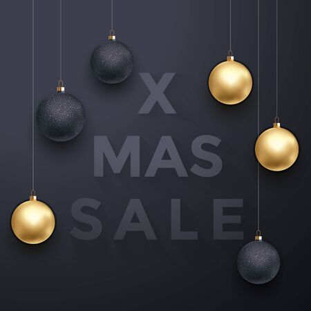 balck: Christmas and Xmas Sale poster background with luxury golden and balck Christmas balls decoration. Luxury or vip retail promo offer banner, placard with modern text Illustration