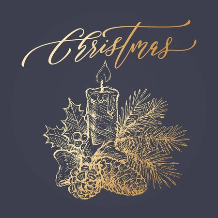 pine decoration: Golden bow with candle. Merry Christmas wreath decoration with text for greeting card. Gold glitter garland of pine fir tree branches, candles, cones and holly leaf on black background Illustration