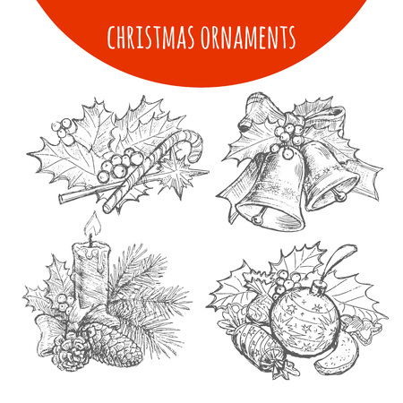 pine decoration: Christmas wreath and bows decoration set. Vector sketch of pine fir tree branches, candles, cones and candy canes, fruits and sweets, balls and holly leaf decoration ornaments Illustration