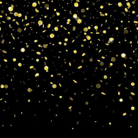 Gold confetti rain festive holiday background. Vector golden paper foil sequins falling down isolated on transparent background Illustration
