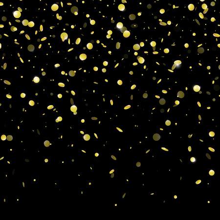 Or confetti pluie festif fond. Vector or feuille de papier paillettes tombant isolé sur fond transparent