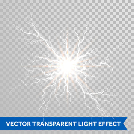 Thunder lightning flash light on trasparent background. Vector realistic electricity ball lightning storm or thunderbolt in sky. Natural phenomenon illustration of human nerve or neural cells system