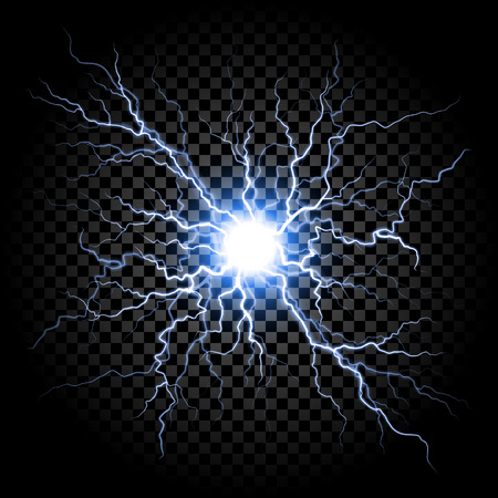 Lightning flash light thunder spark on trasparent background. Vector ball lightning or electricity blast storm or thunderbolt in sky. Natural phenomenon of human nerve or neural cells system Vettoriali