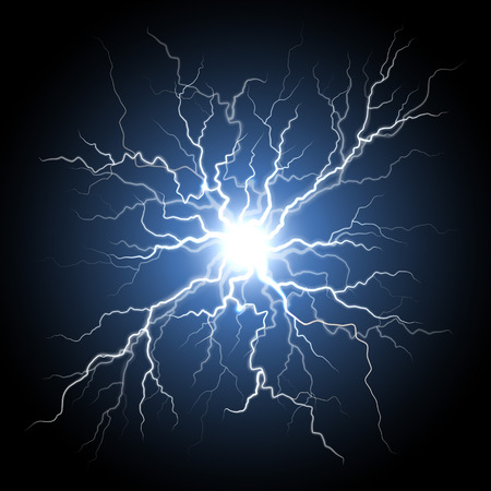 Thunder storm flash light on black background. Vector realistic electricity ball lightning thunderbolt in sky. Illustration of human nerve connection or neural cells system. Natural phenomenon Ilustracja