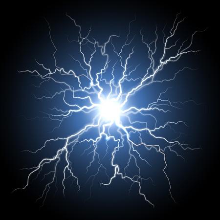 Trueno tormenta luz de flash sobre fondo negro. Vector realista bola de electricidad rayo relámpago en el cielo. Ilustración de conexión nerviosa humana o el sistema de células neuronales. Fenomeno natural