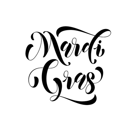 parade: Mardi Gras carnival calligraphy lettering. Fat or Shrove Tuesday in New Orleans celebration text. Sydney Mardi Gras or Australian traditional pride parade masquerade or party