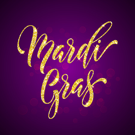 Mardi Gras gold glitter calligraphy. Masquerade carnival lettering. Australian traditional Sydney Mardi Gras pride parade or American New Orleans Louisiana Fat Tuesday celebration poster greeting card