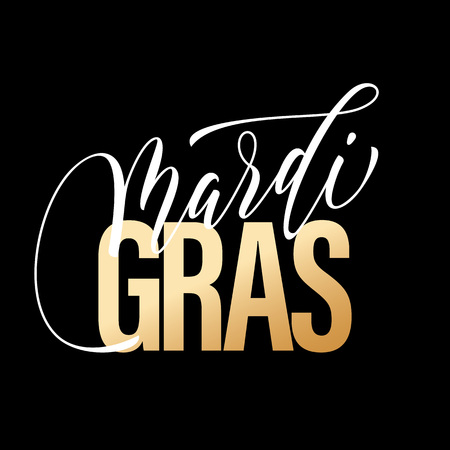 Gold lettering Mardi Gras masquerade carnival text calligraphy lettering. Fat or Shrove Tuesday american Louisiana traditional holiday celebration. Sydney Mardi Gras pride parade masquerade or party