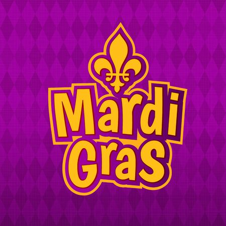 Mardi Gras gold glitter text with Frecnh lily Fleur de Lis on harlequin purple pattern background. Masquerade carnival lettering. American New Orleans Louisiana Fat Tuesday or Australian Mardi Gras