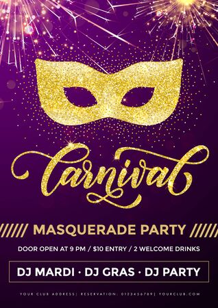 parade confetti: Mardi Gras masquerade party poster for carnival. Mask of gold glitter and calligraphy lettering on purple sparkling background with confetti fireworks. Disco club celebration invitation placard Illustration