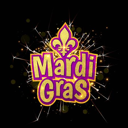 fleur of lis: Mardi Gras gold glitter text with firework sparkles. Fleur-de-Lis lily symbol for masquerade carnival. American New Orleans Fat Tuesday celebration poster greeting card. Australian Mardi Gras parade