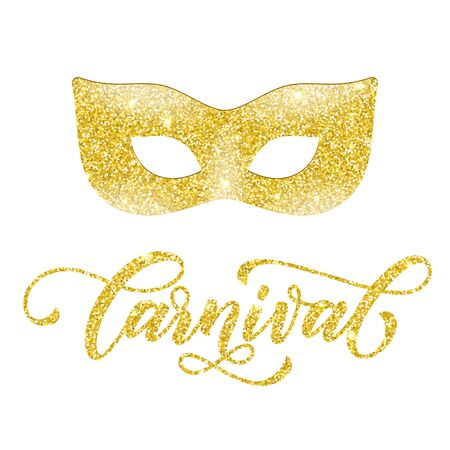 Golden mask of gold glitter. Carnival text for Mardi Gras or Venetian masquerade festival. Calligraphy lettering for Fat Tuesday celebration in New Orleans or Australian Mardi Gras traditional parade