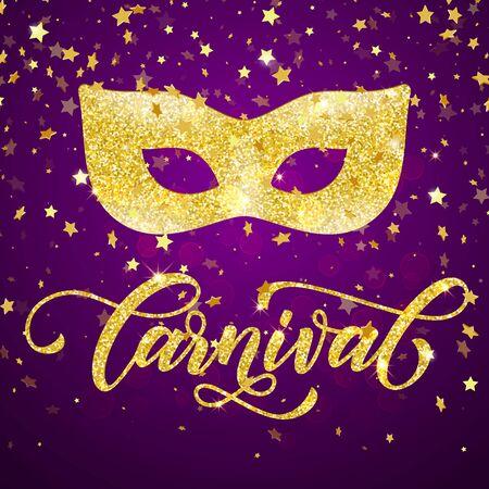 mardi gras background: Mardi Gras golden mask carnival lettering for masquerade . Golden mask for venetian carnival masquerade. Gold glitter calligraphy lettering, sparkling confetti fireworks on purple background