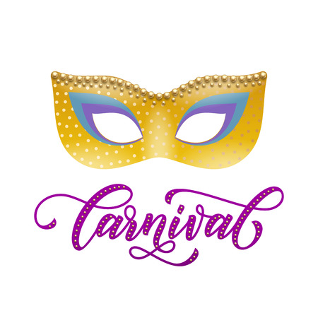 Mardi Gras or Venetian mask carnival calligraphy lettering for masquerade festival. Fat Tuesday celebration in New Orleans or Australian Mardi Gras traditional parade