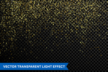 Vector gold glitter particles background effect for luxury greeting card. Sparkling texture. Star dust sparks magic explosion light on transparent background. Shimmering glow glittering effect Stock Illustratie