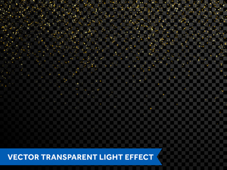 Festive falling shiny particles and stars on transparent background. Golden confetti glitter. Sparkling gold dust texture. Holiday decorative tinsel element for new year, christmas holiday design Vectores