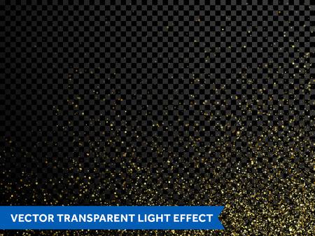 Gold glitter powder particles splash. Vector background of golden star dust spray. Magic mist glowing. Stylish fashion black backdrop of twinkling sequins for christmas or birthday holiday, wedding