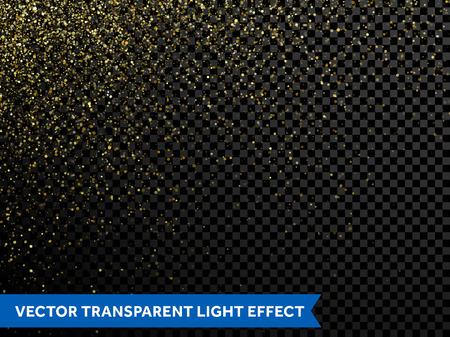 黄金の輝きのベクトル波抽象的なイラスト。ゴールド スター ・ ダスト トレイル輝く粒子光、透明な背景に分離されました。クリスマス、正月、結  イラスト・ベクター素材