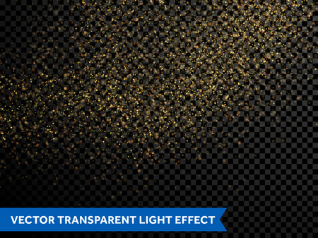 night background: Gold glitter particles Vector golden dust texture of twinkling confetti, shimmering star lights. Magic glowing light sparkles spray for Christmas decor on transparent background Illustration