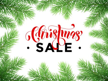 discount store: Promo Christmas Sale red text lettering. Pine tree branches background. Seasonal store discount offer banner, winter New Year holiday promotion placard for shop
