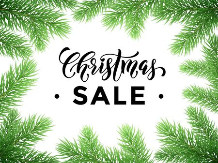 discount store: Promotion discount sale poster with Christmas tree background. New Year holiday seasonal shop offer. Hand drawn calligraphy lettering text, pine tree branches frame. New Year store banner, placard