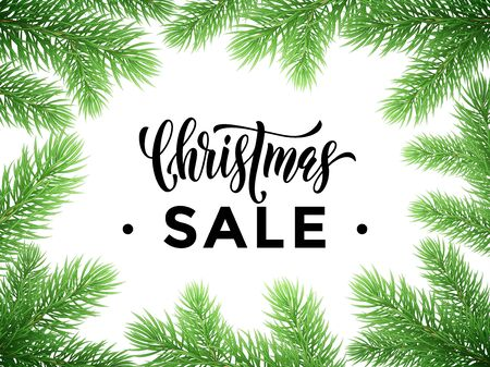 discount store: Promo Christmas Sale text lettering. Seasonal store discount offer banner, winter New Year holiday promotion placard template for shop. Pine tree branches background Illustration