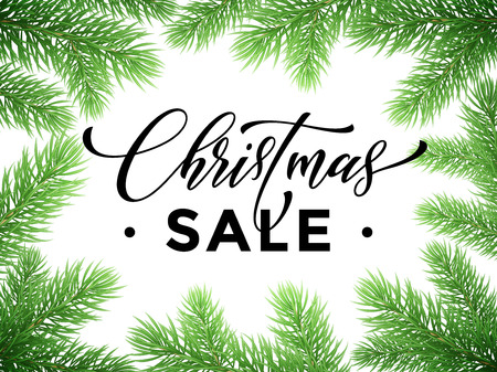 discount store: Promotion discount sale poster with Christmas tree background. New Year store banner, placard, holiday seasonal shop offer. Hand drawn calligraphy lettering text, pine tree branches frame Illustration