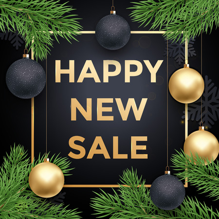 newy year sale poster or promo gift card with gold text ball ornament decorations