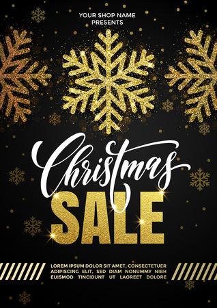 Goldenes Plakat oder Plakat Promo-Verkaufs für Weihnachten. Hand gezeichnete Goldfunkelnschneeflocken und Kalligraphiebeschriftungstext. Silvester-Weihnachtsrabattangebot. Vektor schwarzer Hintergrund