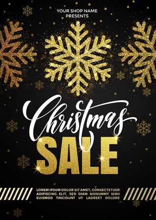 Promo sale golden poster or placard for Christmas. Hand drawn gold glitter snowflakes and calligraphy lettering text. New Year holiday seasonal discount offer. Vector black background