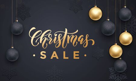 discount store: Banner Christmas Sale background golden calligraphy lettering text design. Text with gold glitter balls and snowflakes pattern. Banner or poster shopping store, shop discount poster