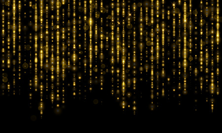 Sparkling lines of gold particles with shimmering light blurs. Luxury golden sparkling glitter tinsel threads of curtain backdrop of shiny sequins or fashion strass drops for Christmas, New Year decor Illustration