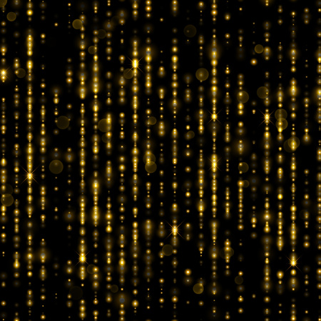 glamor: Golden sparkling glitter threads. Sparkling lines of gold particles with shimmering light blurs. Festive glamour curtain backdrop of shiny sequins or strass decorative background for Christmas
