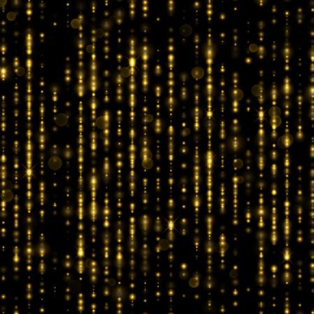 hilos de oro brillo espumosos. líneas brillantes de partículas de oro con las faltas de definición de luz brillante. Festivo contexto cortina de glamour de lentejuelas brillantes o strass fondo decorativo para la Navidad