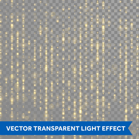 Golden sparkling glitter threads. Sparkling lines of gold particles with shimmering tinsel light blurs. curtain backdrop of shiny sequins or strass on transparent background