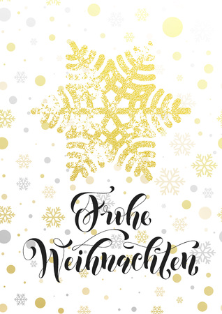 German Merry Christmas text Frohe Weihnachten. Golden glitter snowflake, gold glittering snow balls pattern on white background. Hand drawn calligraphy lettering holiday greeting card premium design