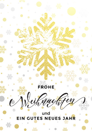 German Merry Christmas text Frohe Weihnachten, Happy New Year Frohe Neues Jahr. Golden glitter snowflake, gold glittering pattern on white background. Calligraphy lettering holiday greeting card
